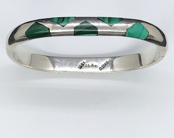 Sterling Silver Malachite Bracelet Taxco Mexico Vintage Hinged Bangle Signed 925