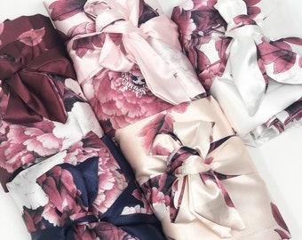 Silk Floral Robes, Burgundy Robes, Bridesmaid Robes, Bridal Party Gifts, Bridal Robes, Bridesmaid Gifts, Bride Robe, Bridal Shower Gifts