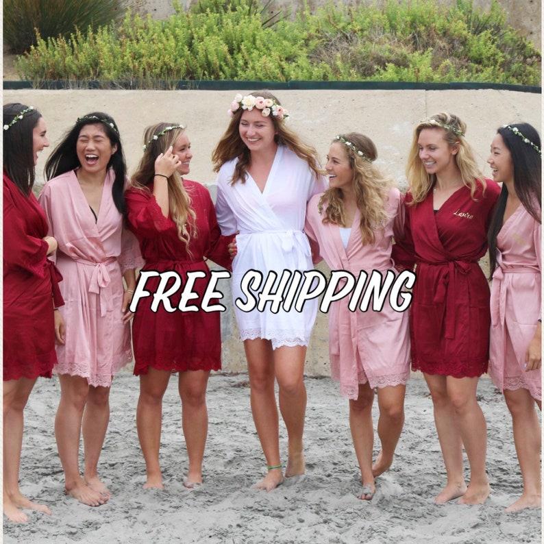 Bridal Robe; Bridesmaids Robes;Maternity Robes;Lace Robe; Wedding Gift; Spa Robe