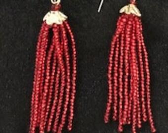 Red tassel bead earrings