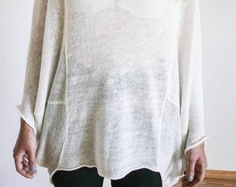 Poncho / Linen poncho / White poncho / Knitted poncho / Wrap poncho / Modern linen poncho / Interesting poncho / Smmer knitwear / White wrap