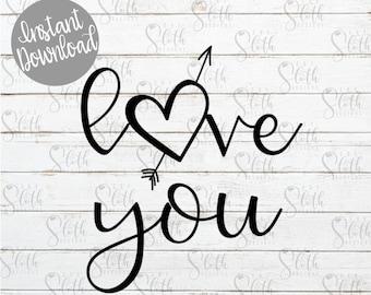 heart and arrow etsy Rockabilly Lovers love you svg cut file love you with heart and arrow digital svg cut file