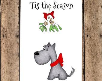 Funny Christmas Card - 'Tis the Season!   Scottie Dog Christmas, Mistletoe, Scottish Terrier