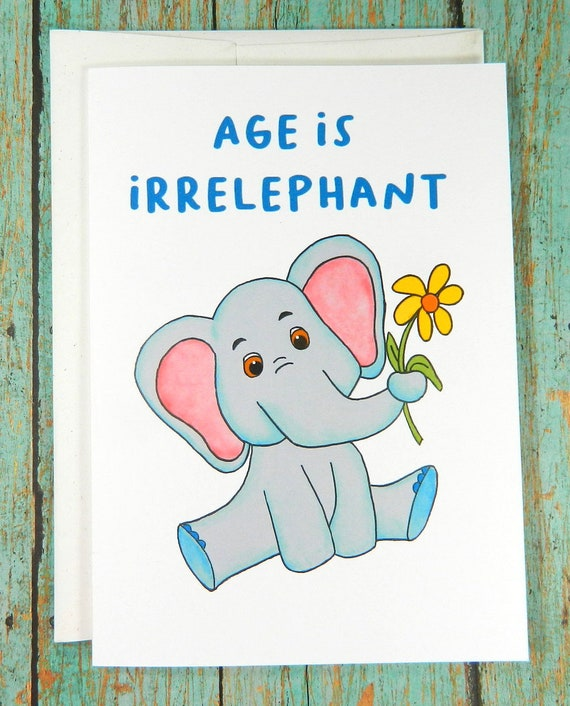 Funny Birthday Card Elephant Birthday Card Recycled Card Etsy