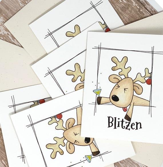Funny Christmas Cards Set Of 5 Blitzen Etsy