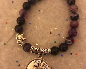 Purple banded Agate beaded bracelet