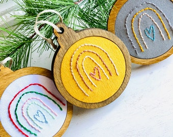 Stitched Rainbow Ornaments