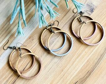 Wood Circle Color Block Dangle Earrings