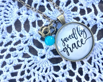 Saved by Grace//Handmade Jewelry//Customized Necklace//Scripture Jewelry//Quote Necklace//Hand lettered//Circle Pendant