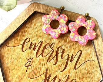 Floral wood drop Earrings/ Glitter/ Hand Painted/