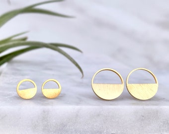 stud earring, gold earring, geometric earring, circle earring, minimalist earring, earring, gold stud earring, modern earring, small earring