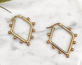 Hoop Earrings Geometric Earrings Metal Hanging Fashion Accessories S7U5