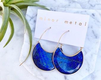 lapis lazuli earrings, blue earrings, dangle earrings, hoop earrings, stone earrings, blue stone earrings, lapis earring, blue stone earring