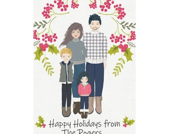 Christmas Portrait, Christmas Card, Christmas Digital Custom Portrait, Cartoon Portrait, Holiday Card, Digital Download, Personal Portraits