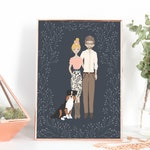 Small Family Portrait, Cartoon Portrait, Family Picture, Personalized Family Name, Personalized Print, Name Print, Family Portrait