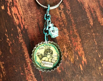 You can call me queen bottle cap keychain