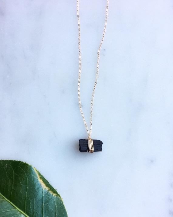 Sterling Silver Statement Necklace Boho Gemstone Crystal Pendant Raw Black Necklace Mother/'s Day Gift Black Tourmaline Pendant