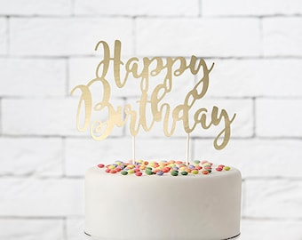 Gold Happy Birthday Cake Topper Trendy