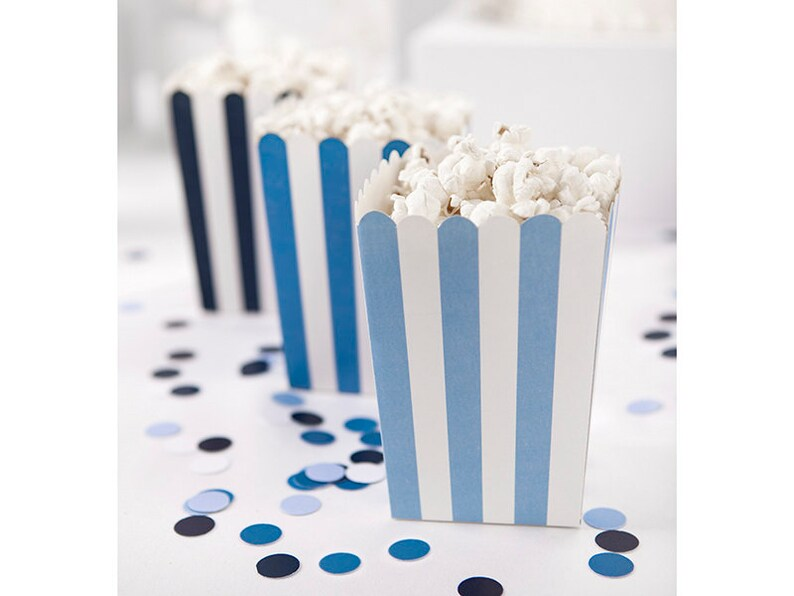 New Blue Striped 1st Birthday Popcorn Favour Boxes //5