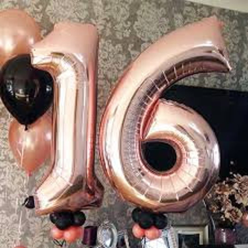 34 Giant Rose Gold Number Foil Balloon Birthday Balloons Giant Number Balloon Gold Recently Party Decor