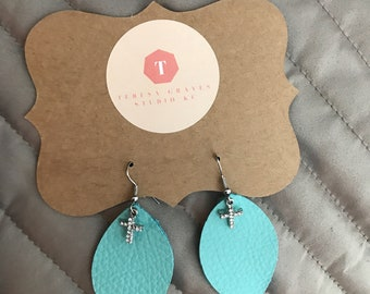 Leather Earrings with Cross Charm