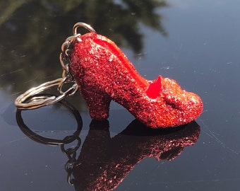 Ruby Glitter Heel Keychain