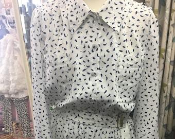 Vintage 1980s White Pleated Shirt Dress size 10/12