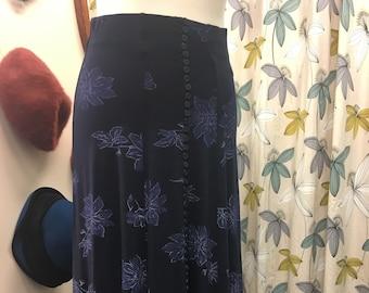 Retro 1990s Navy High Waisted Maxi Skirt