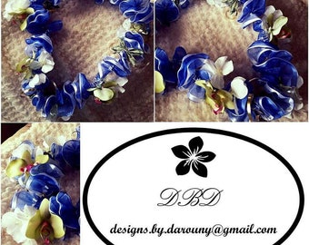 Graduation lei: Double ribbon and silk flowers
