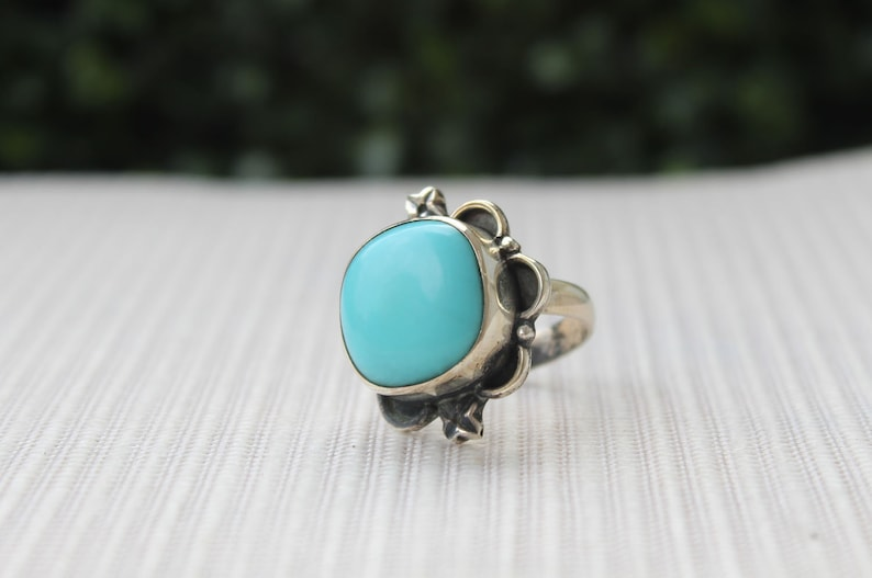 Imitation Turquoise 12mm Cushion Square Cabochon 925 Sterling Silver Ring,Birthstone Rings,Quality Rings,Birthday Gifts,Beautiful Designs