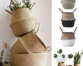 Handmade Bamboo Storage Baskets ,Foldable Laundry Straw ,Patchwork Wicker Rattan Seagrass Belly Garden Flower Pot Planter Basket,home decor