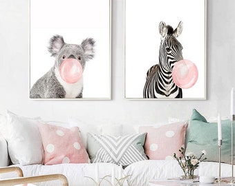 Painting & Calligraphy New Fashion Nordic Cartoon Wall Art Canvas Animal Posters Monkey Flamingos Bears On Canvas Wall Picture For Living Room Home Decor Home & Garden