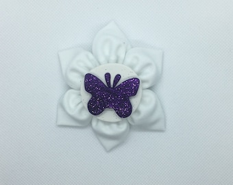 Purple butterfly clay center hair bow