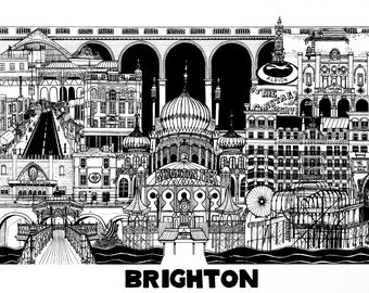 Brighton Print A3 Black& White Selling for Homelessness Charity
