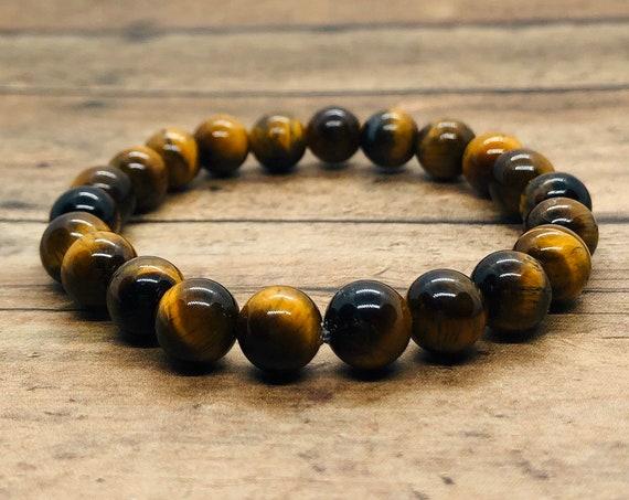 Genuine Tiger Eye Bracelet, Chakra Energy Bracelet, Power Protection Bracelet, Men Women, Yoga Meditation Bracelet