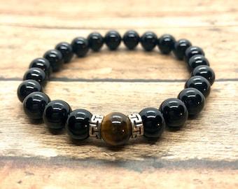 Chakra Bracelet, Black Onyx Strength Power Protection, Tiger's Eye Healing Gift for Him Her, Solar Plexus, Sacral, Root Chakra, Men Women