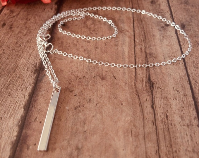 Silver Vertical Bar Long Necklace
