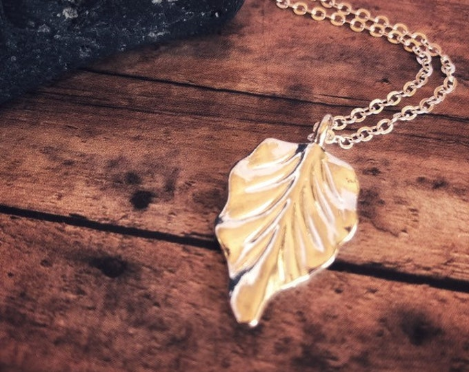Leaf Necklace Sterling Silver, Nature Long Necklace, Simple Eco-friendly Jewelry, Minimalist Silver bridemaid gift,