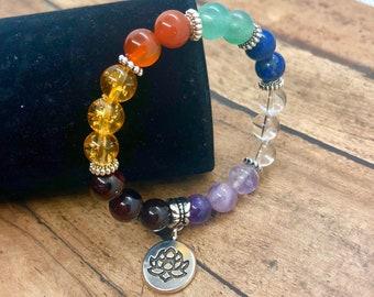 Healing Chakra Bracelet, Crystal Bracelet with Meaning Card, 7 Chakra Yoga Meditation Bracelet, Gemstone Rainbow Jewelry, Gift for Her