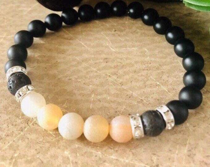 Men's Black Onyx Beaded Bracelet, Black Onyx Healing Bracelet, Black Onyx and Amber Agate Diffuser Bracelet