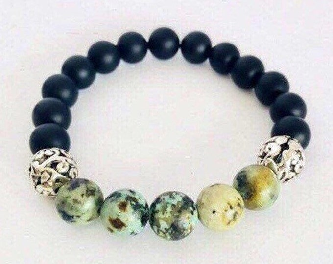 African Turquoise and Black Onyx Calming Yoga Bracelet