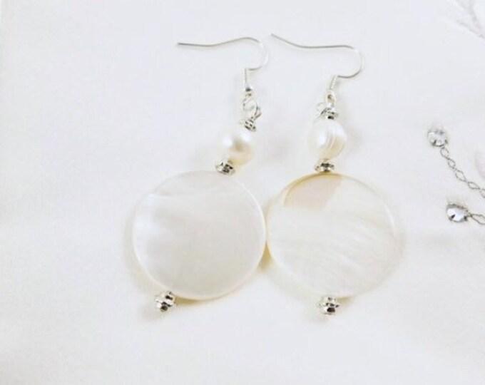 Shell earrings silver, boho white shell earrings