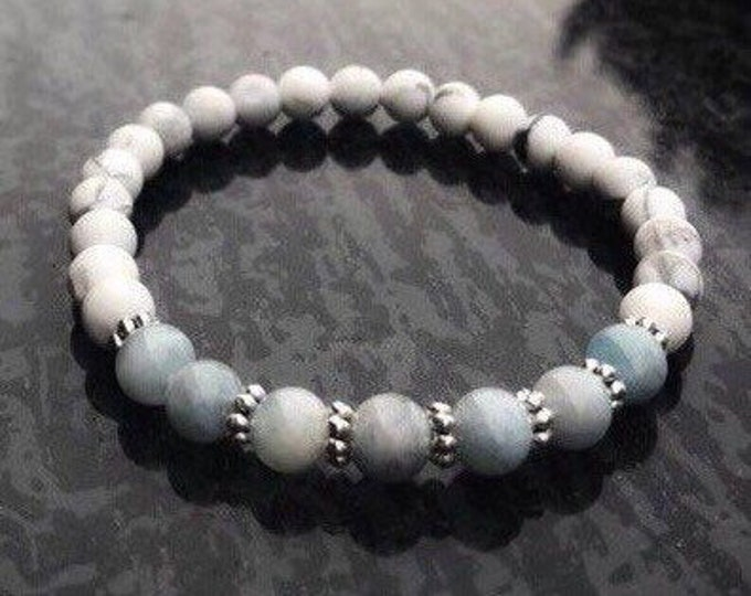 Aquamarine Bracelet White Howlite Healing Bracelet