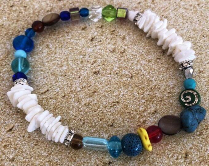 Beaded White Shell Boho Beach Bracelet