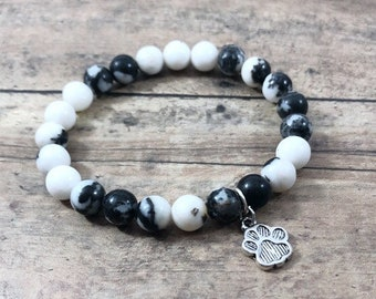 Gemstone Healing Bracelet, Black Striped Agate Bracelet, Spiritual Yoga Jewelry, Wrist Mala, Choice of Charm