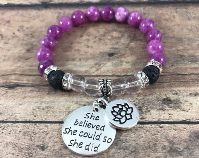Gemstone Bracelet, She Believed She Could So She Did Inspirational Bracelet, Purple Jade Lava Stone Quartz Bracelet, Daughter Gift, Birthday