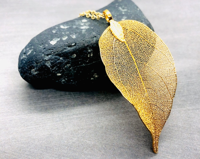 Real Leaf Necklace Gold Filled, Natural Leaf Pendant Long Necklace, Simple Nature Inspired Large Leaf Necklace, Autumn Jewelry