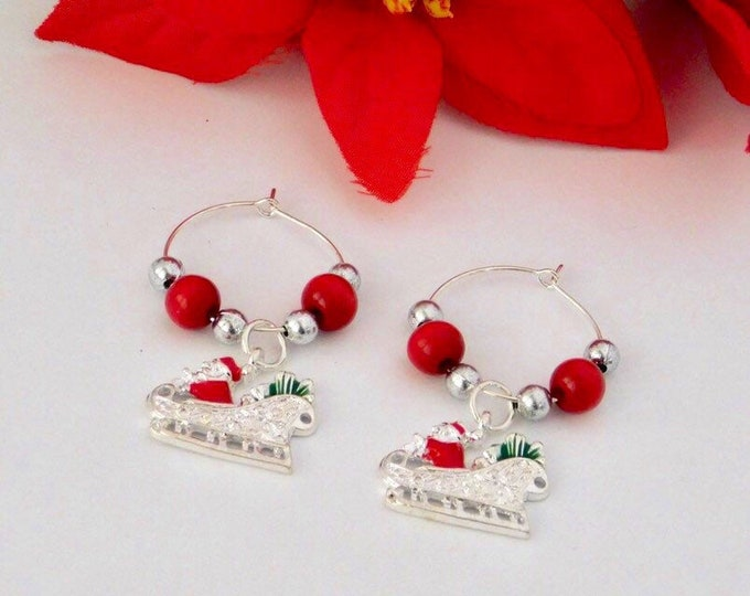 Santa Sleigh Dangle Earrings