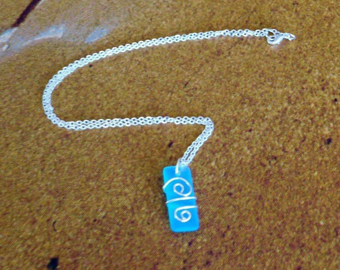 Natural aqua sea glass wire wrapped Pacific blue sea glass pendant necklace