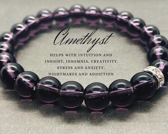 Amethyst Bracelet, Anxiety Support Bracelet, Calming Bracelet, Healing Gemstone Bracelet, Chakra Meditation Bracelet